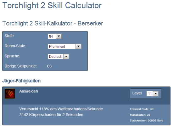 Skill Calculator f�r Torchlight 2