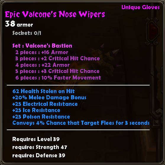 Epic Valcone's Nose Wipers